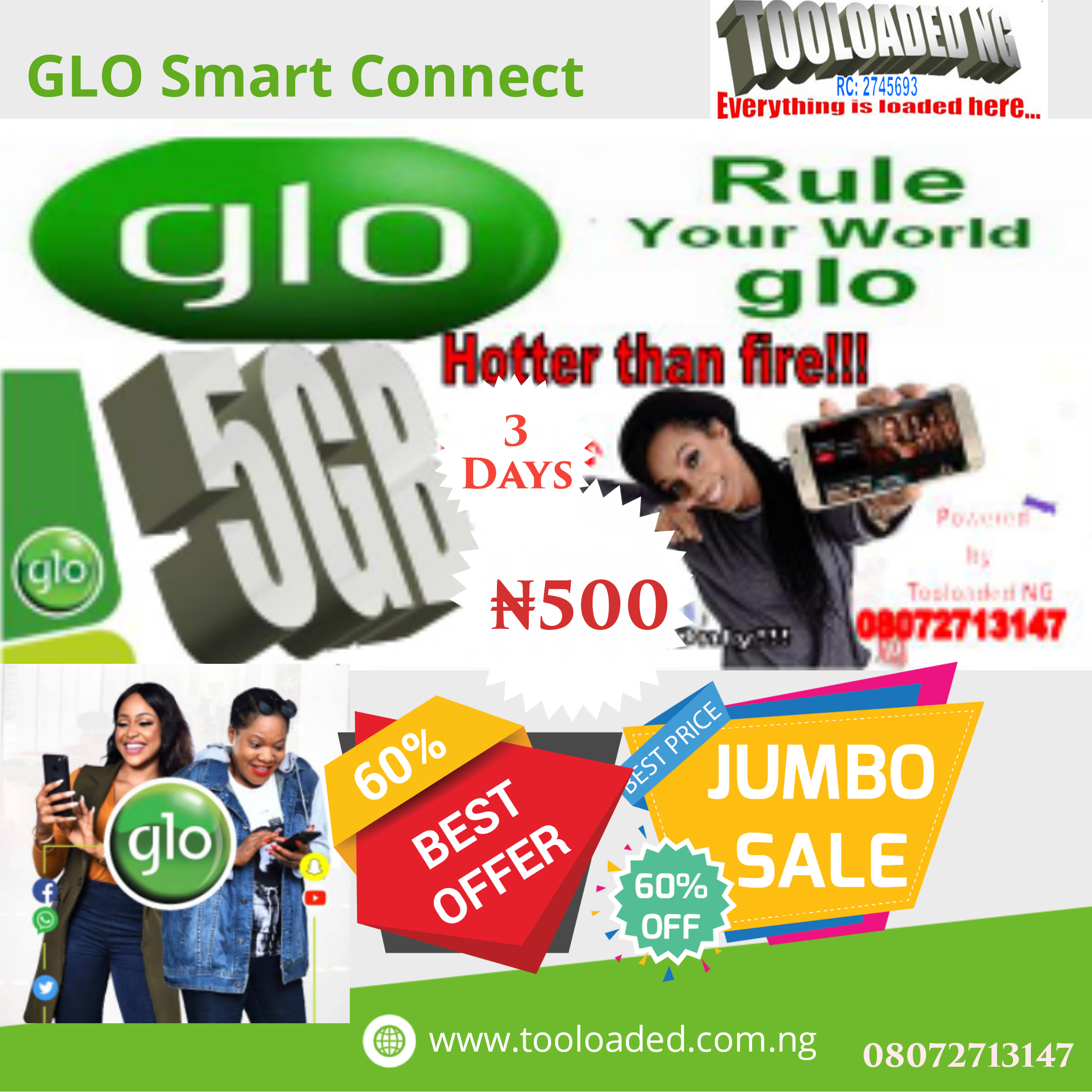 Get GLO 5GB for just ₦500.